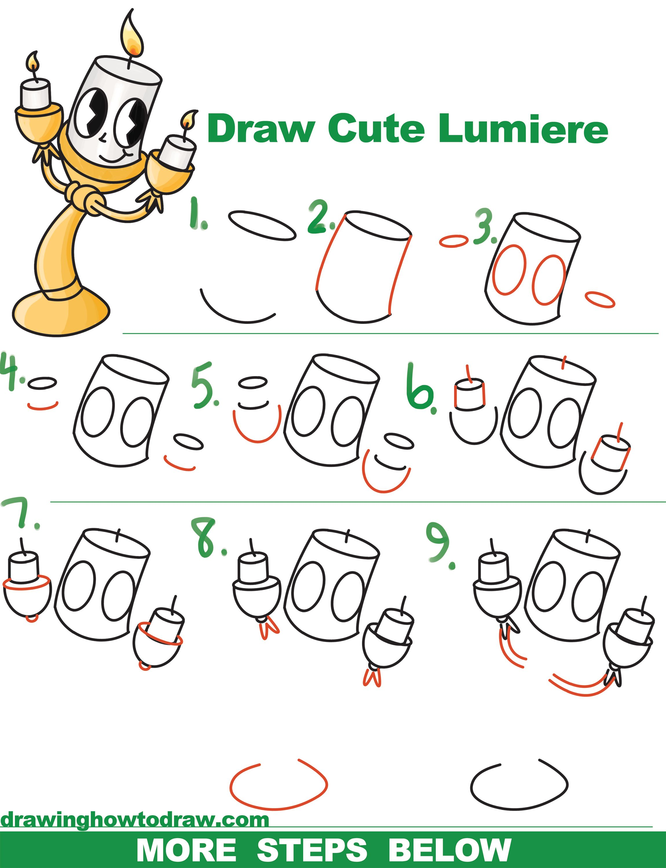 2300x2998 How To Draw Lumiere (Cute Kawaii Chibi) From Beauty And The Beast