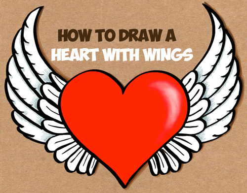 500x392 How To Draw A Heart With Wings