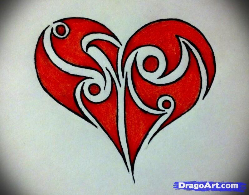 798x624 How To Draw A Tribal Heart Step 7 D R W I N G Shit Pinterest