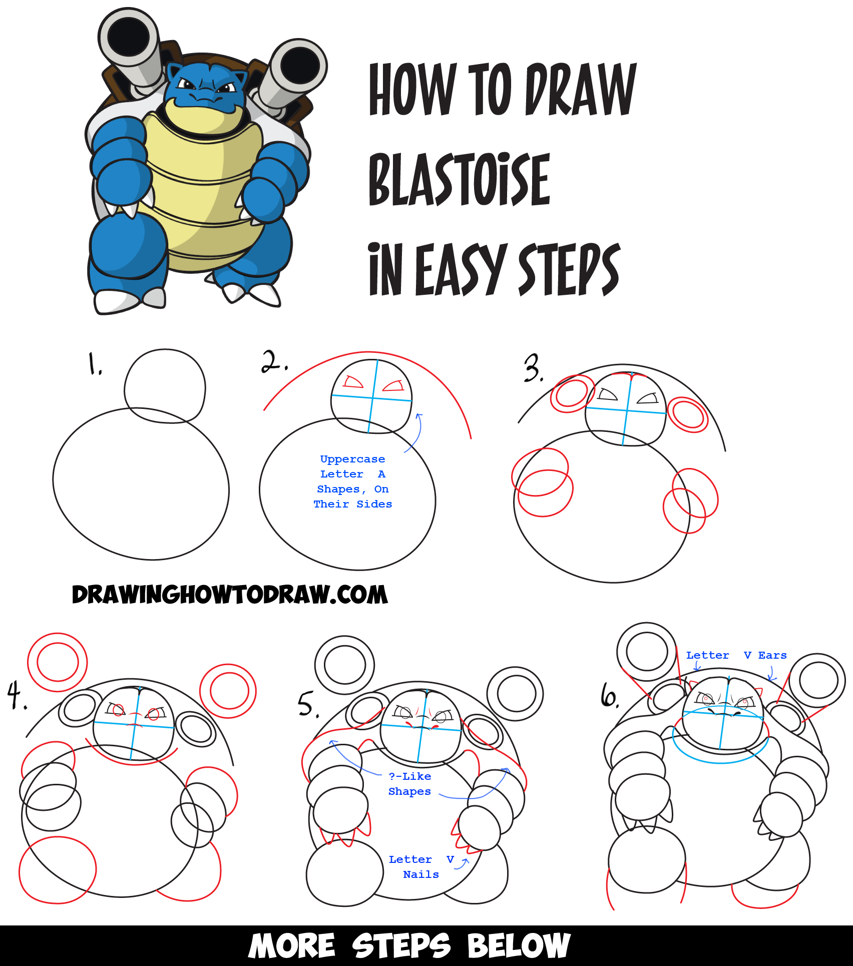 1704x1930 How To Draw Blastoise From Pokemon Easy Drawing Tutorial For Kids
