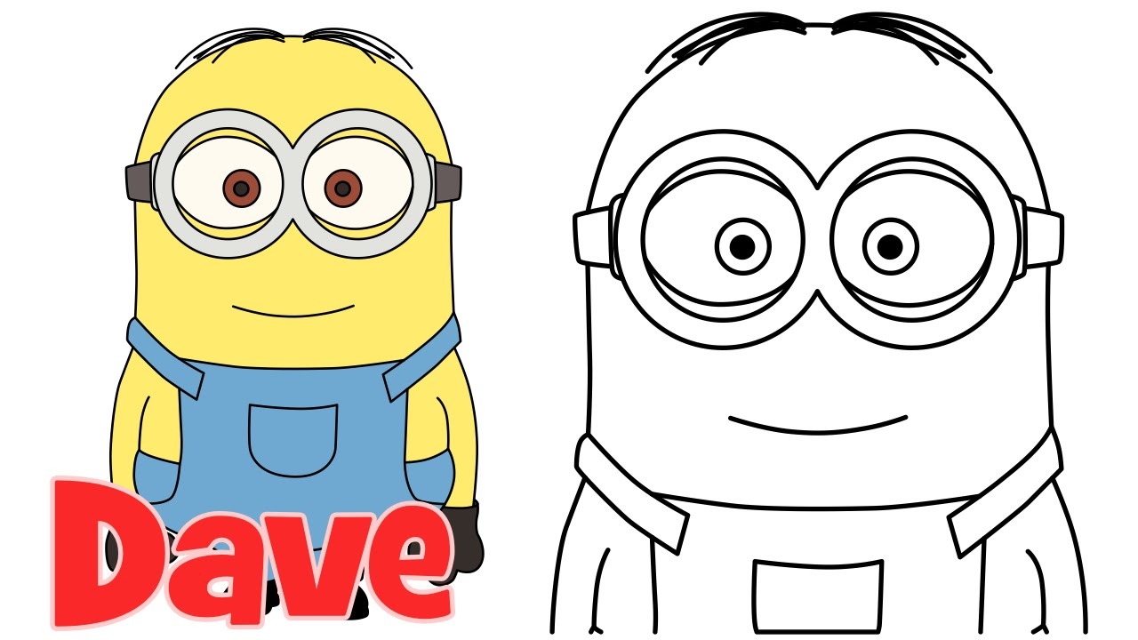 1280x720 How To Draw Minions Dave Step By Step Easy Drawing For Kids