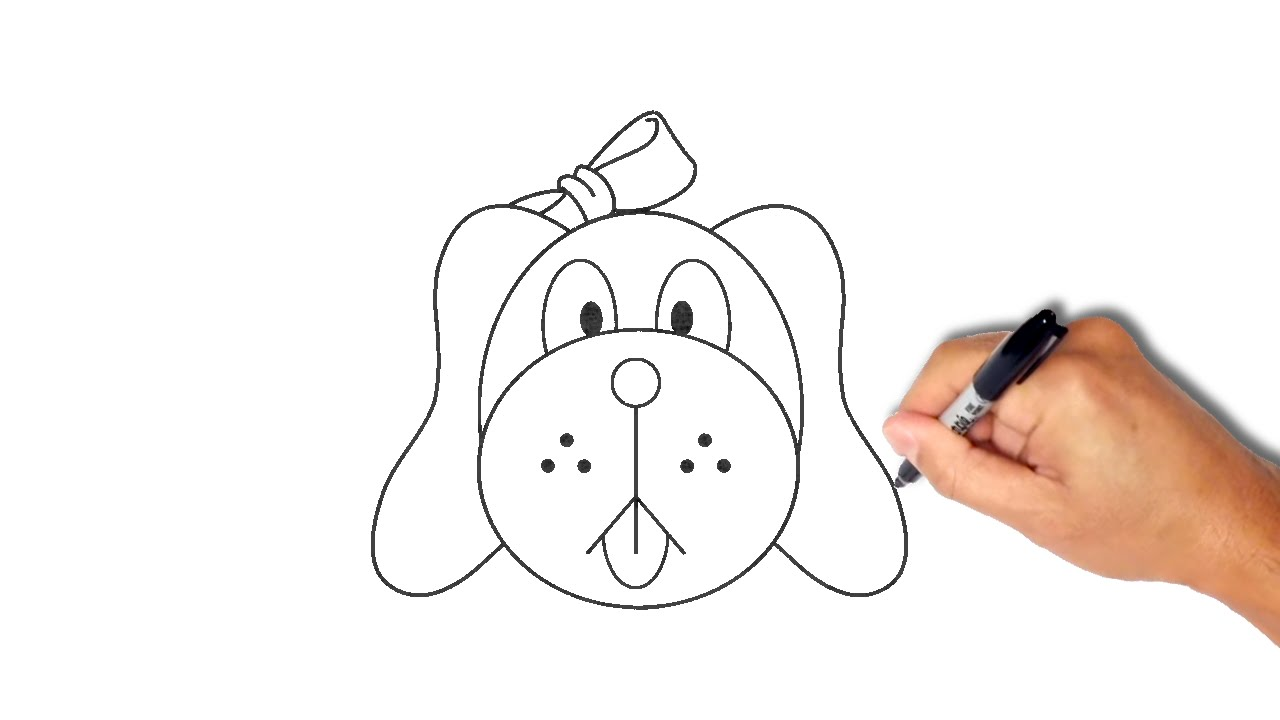 1280x720 How To Draw A Dog Face Step By Step [Very Simple]