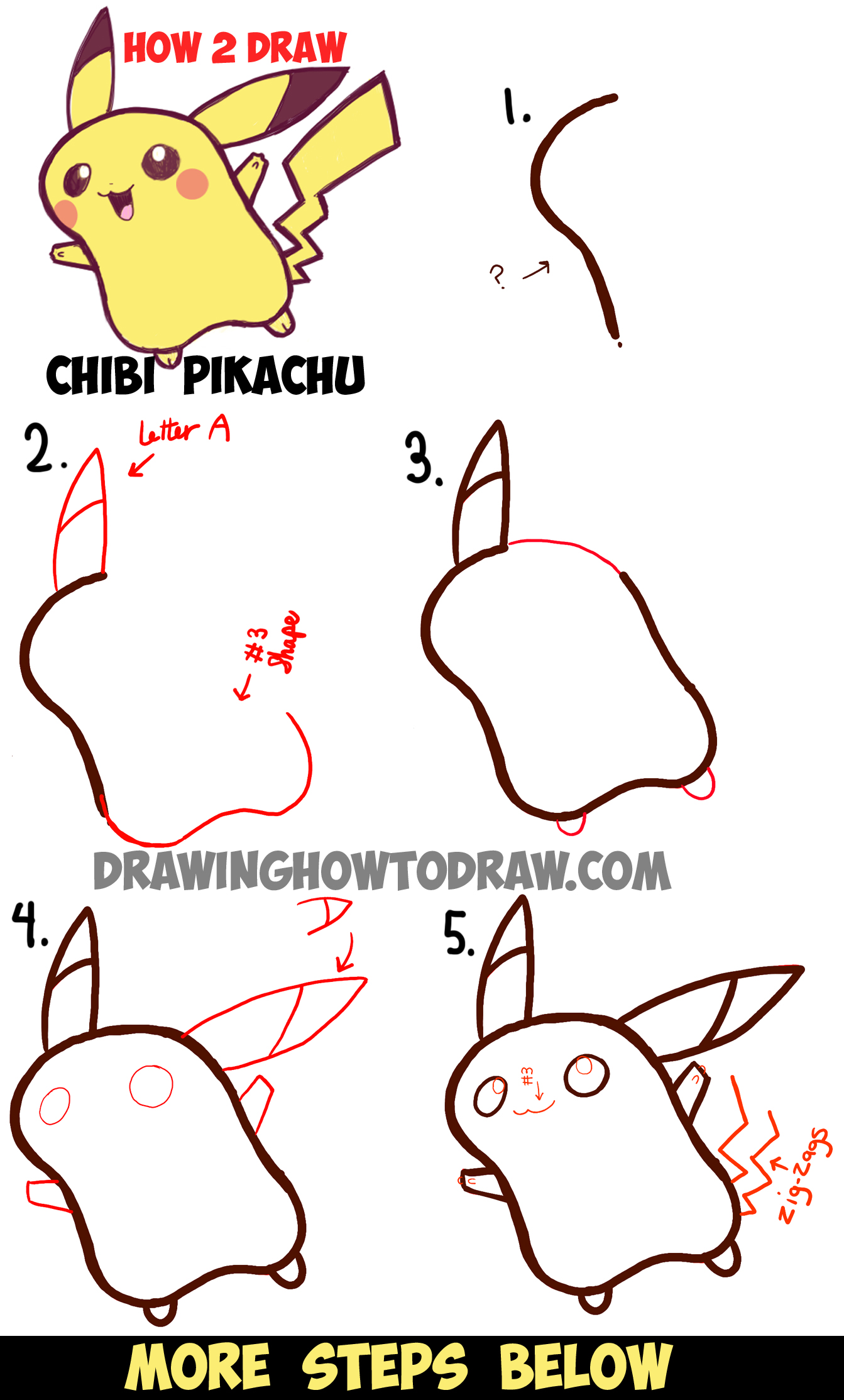 1343x2227 How To Draw Cute Baby Chibi Pikachu From Pokemon