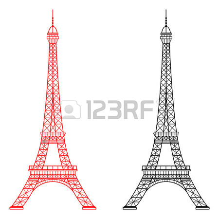 450x450 Eiffel Tower Isolated Vector Illustration, It Is Easy To Edit