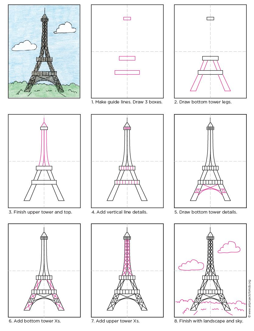 835x1088 How To Draw The Eiffel Tower Tower, Pdf And Tutorials