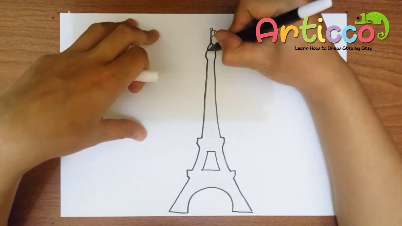 1280x720 How To Draw The Eiffel Tower Step By Step Easy For Kids