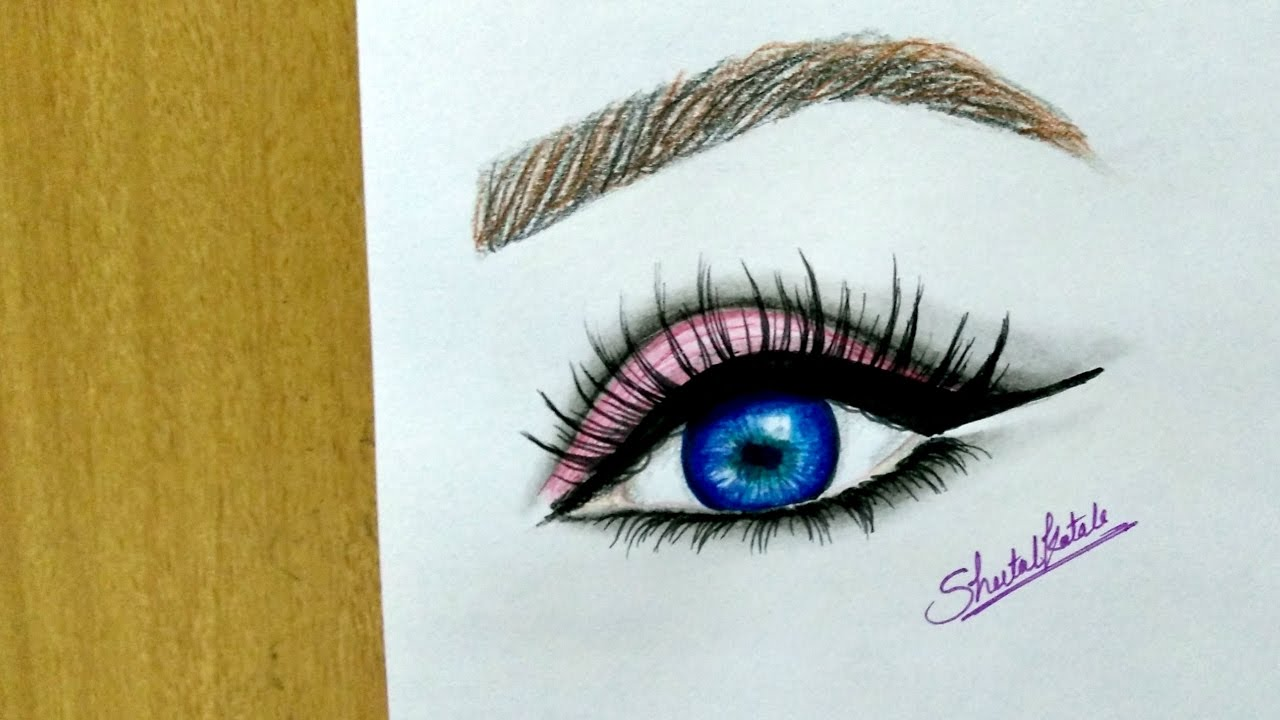 1280x720 How To Draw Easy Beautiful Realistic Blue Eyes Drawing Tutorial