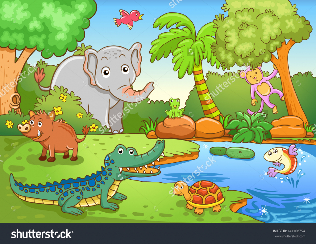 1024x792 Forest Drawing With Animals Simple
