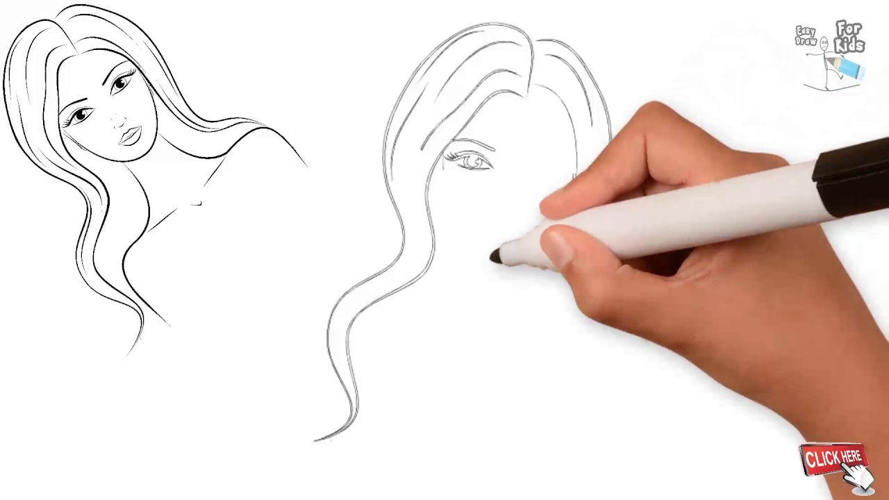 Line Drawing Step By Step : Easy girl drawing at getdrawings free for personal use