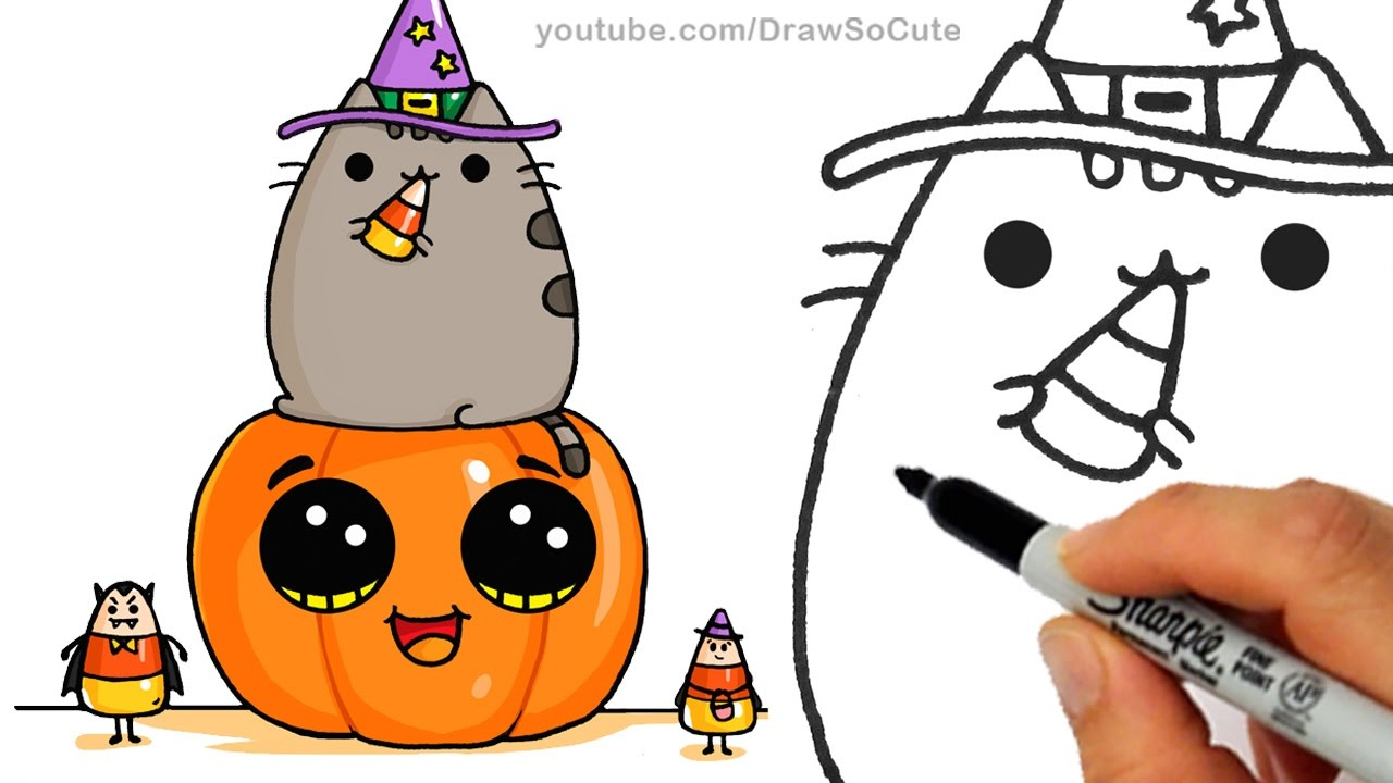 1280x720 How To Draw Pusheen Cat On Pumpkin With Candy Corn Step By Step