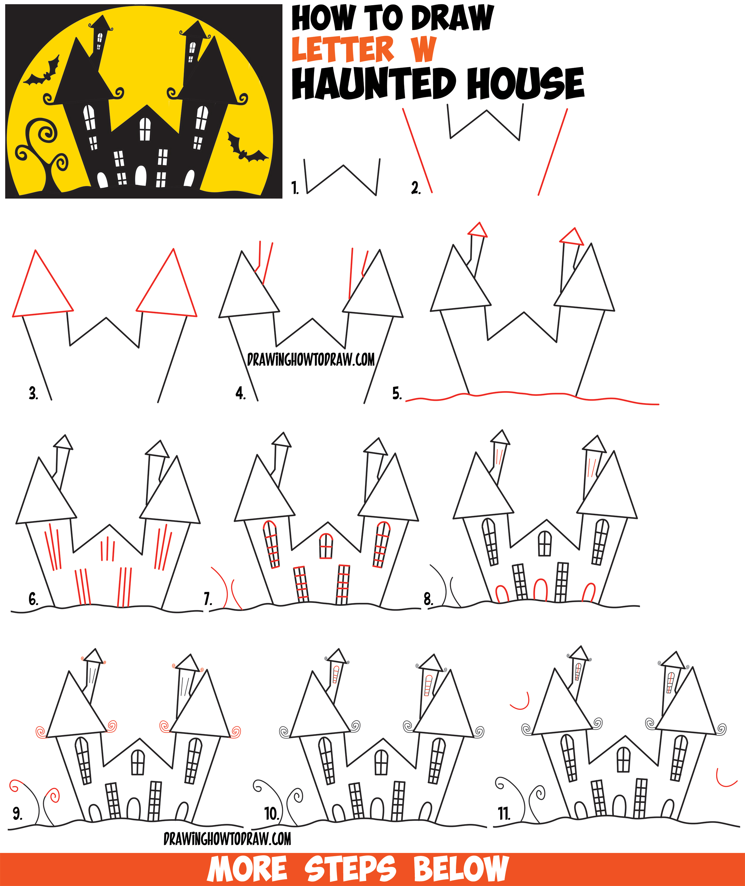 2500x2975 How To Draw A Cartoon Haunted House Step By Step In Silhouette