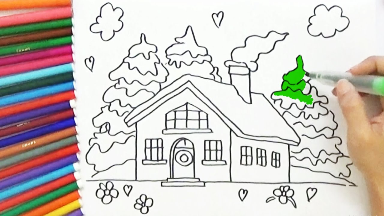 1280x720 house drawings for kids to color how to draw and color a house for - Easy House Drawings