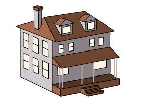 300x200 How To Draw A House, Two Story House