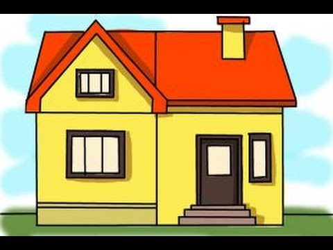 480x360 how to draw a big house - Easy House Drawings