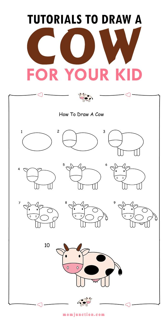 700x1333 2 Easy Tutorials On How To Draw A Cow For Kids Cow, Tutorials