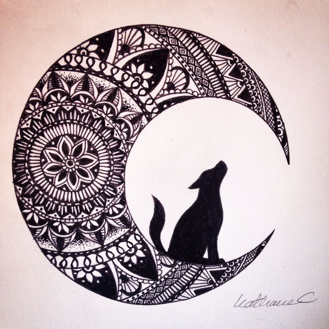 1136x1136 Wolf In The Moon Black Ink Mandala Drawing