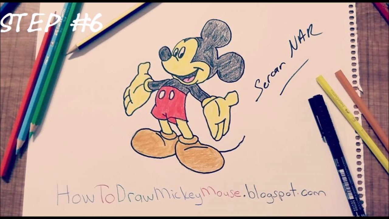 1280x720 Step By Step Mickey Mouse Drawing Full Body Mickey Mouse Drawing