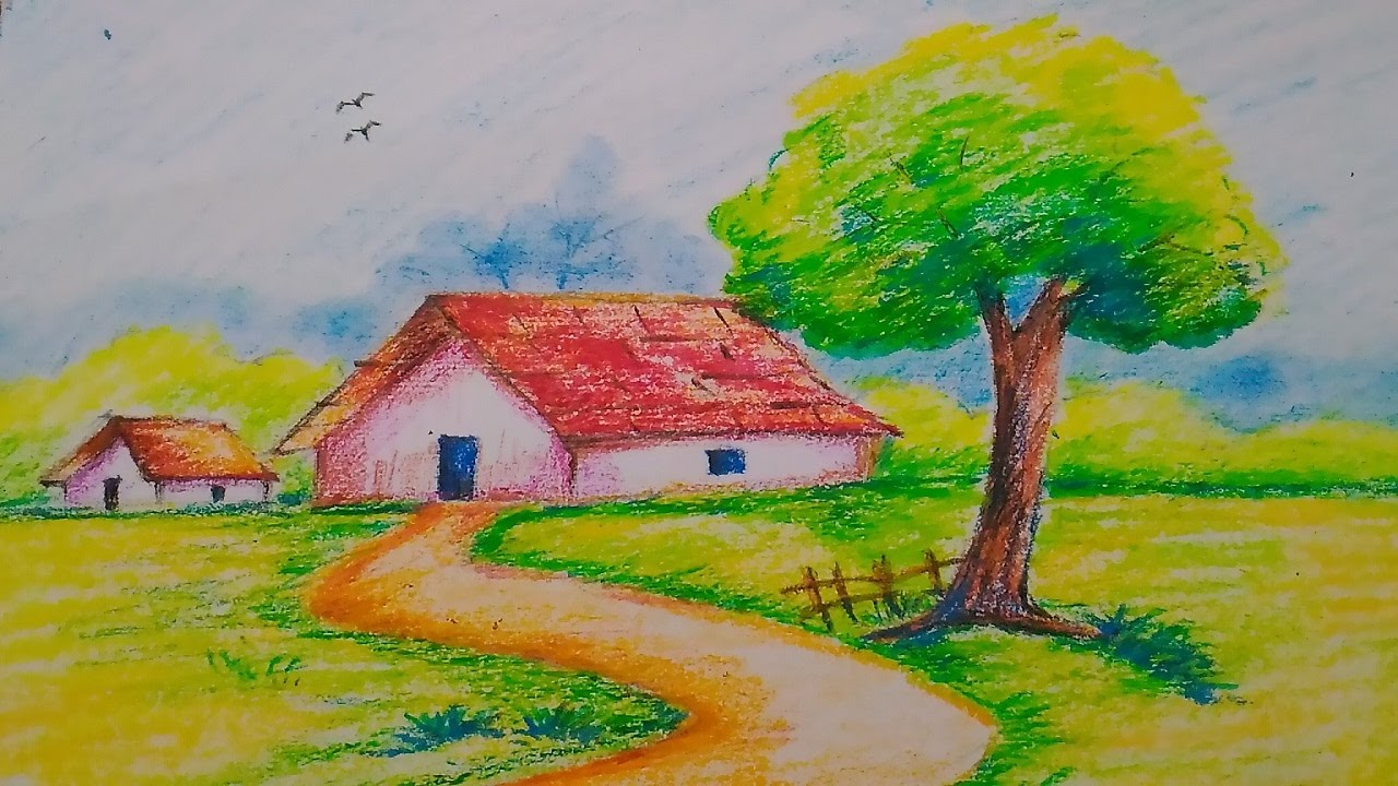 1280x720 Landscape In Oil Pasteleasy Drawing For Kids