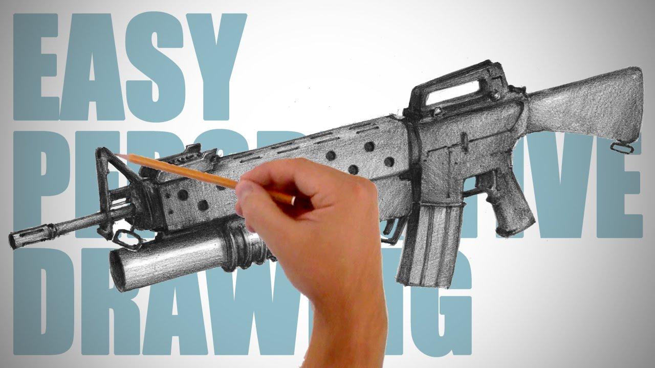 1280x720 How To Draw A Machine Gun (M16 Rifle)
