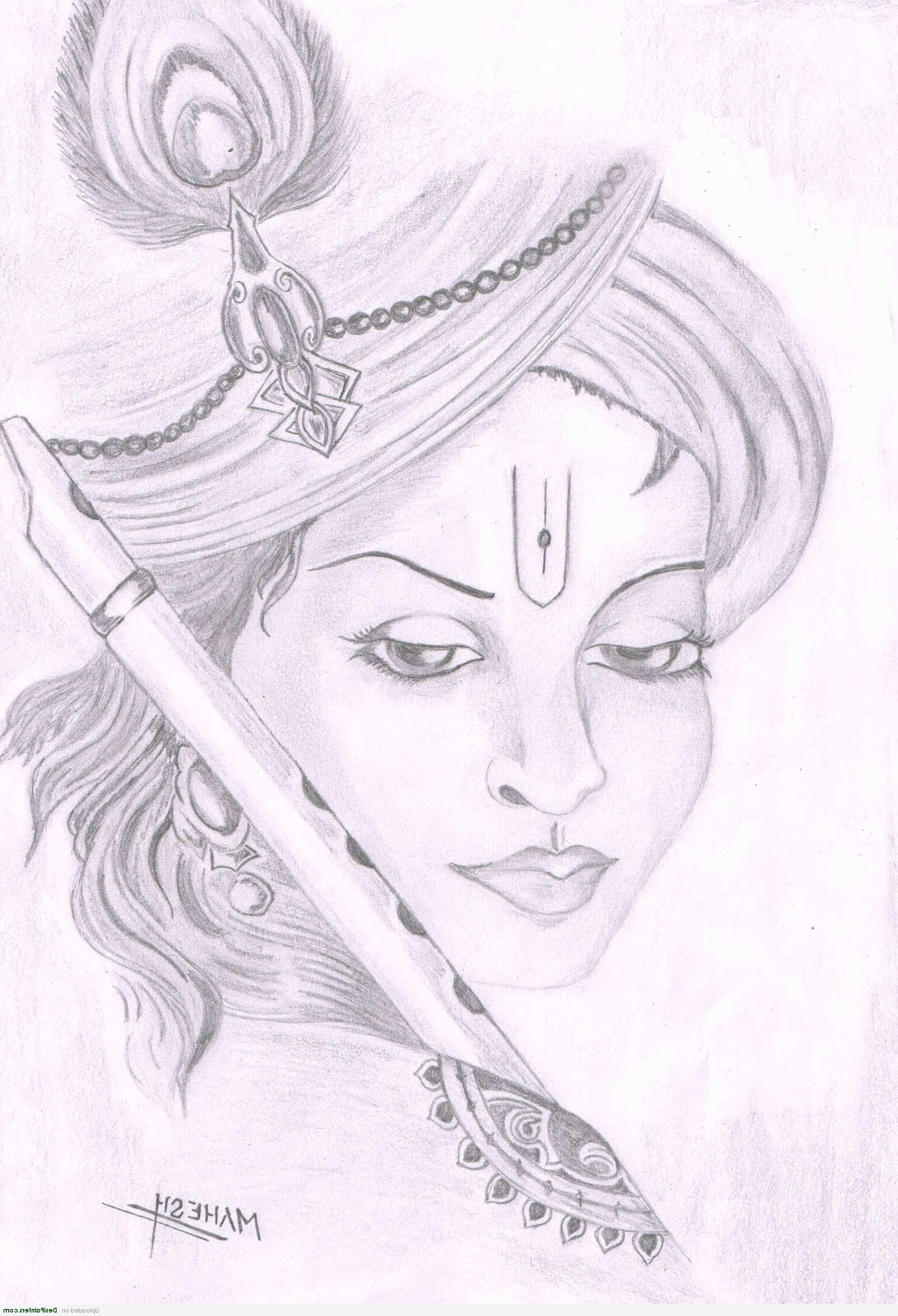 2300x3371 easy sketches with pencil lord krishna simple portrait pencil