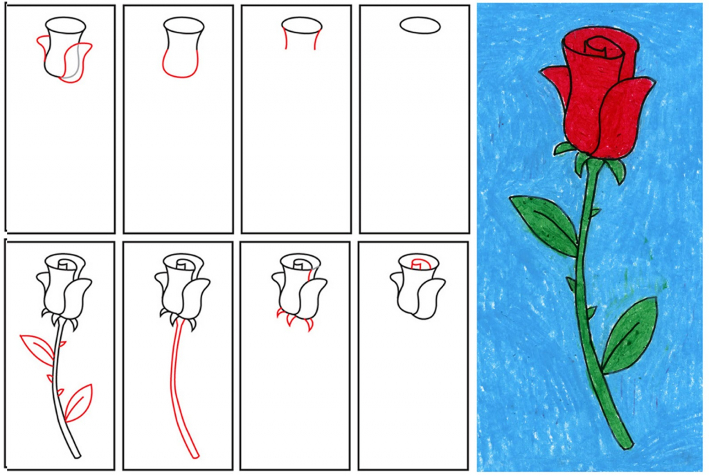 1024x688 rose drawing for kids how to draw a rose step step for kids easy
