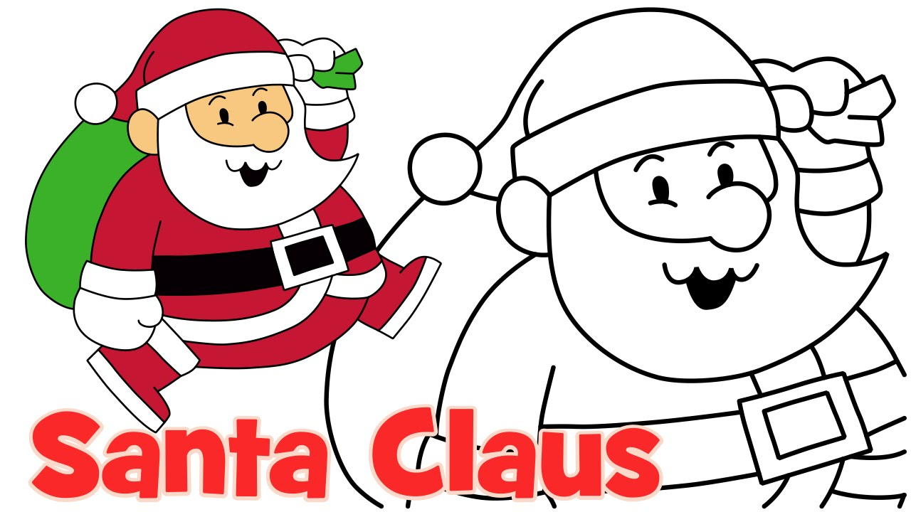 1280x720 Simple Drawing Of Santa Claus How To Draw Cute Christmas Santa