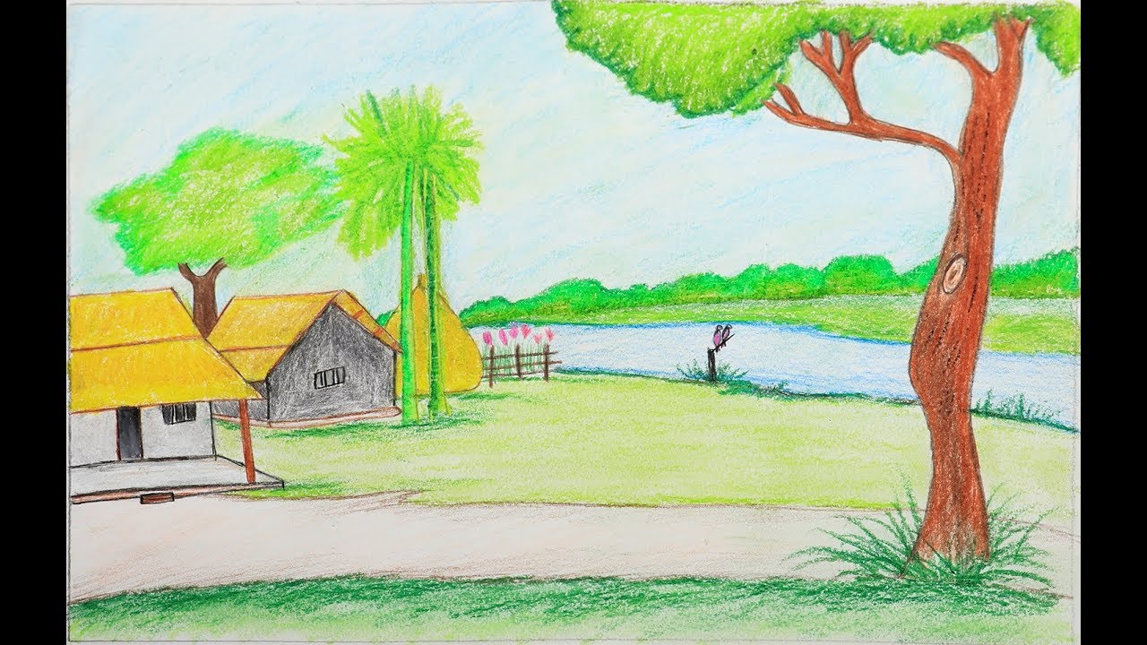 1280x720 How To Draw A Village Scenery Step By Step Very Easy Scenery