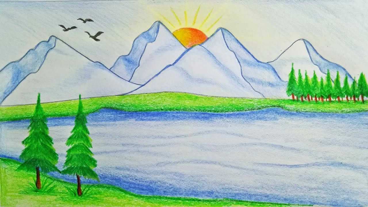 1280x720 Nature Scenery Drawing With Easy How To Draw Scenery Of Mountain