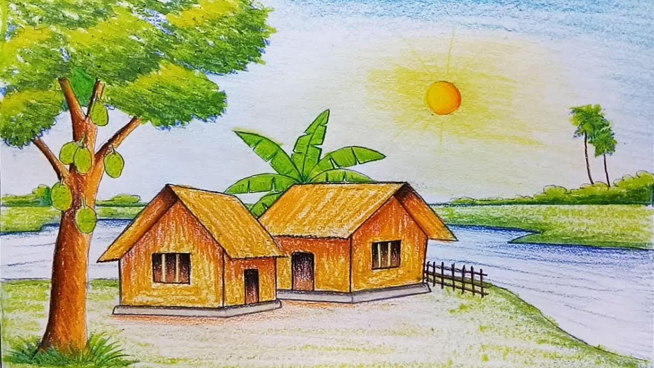 1280x720 Summer Scenery Drawing Easy Scenery Drawing Painting How To Draw
