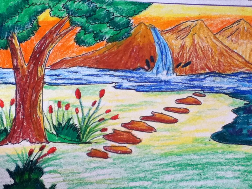 960x720 Beautiful Scenery Drawing For Kids In Simple Steps