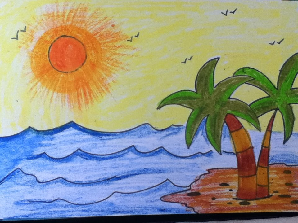 960x720 Scenery Drawing For Kids In Simple Steps