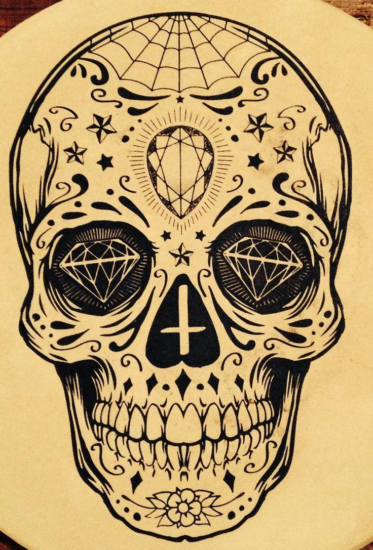736x1087 Candy Skull Drawings Sugar Skull Cool Easy Skull Drawings Skulls