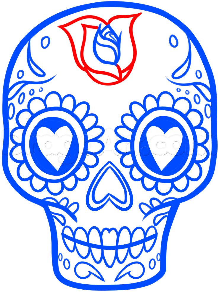 740x987 How To Draw A Sugar Skull Easy, Step By Step, Skulls, Pop Culture