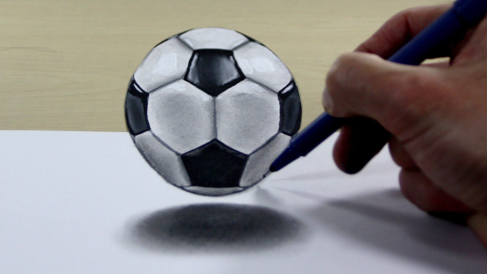 2000x1124 3d Trick Art On Paper Soccer Ball 3d Paintings And Drawings