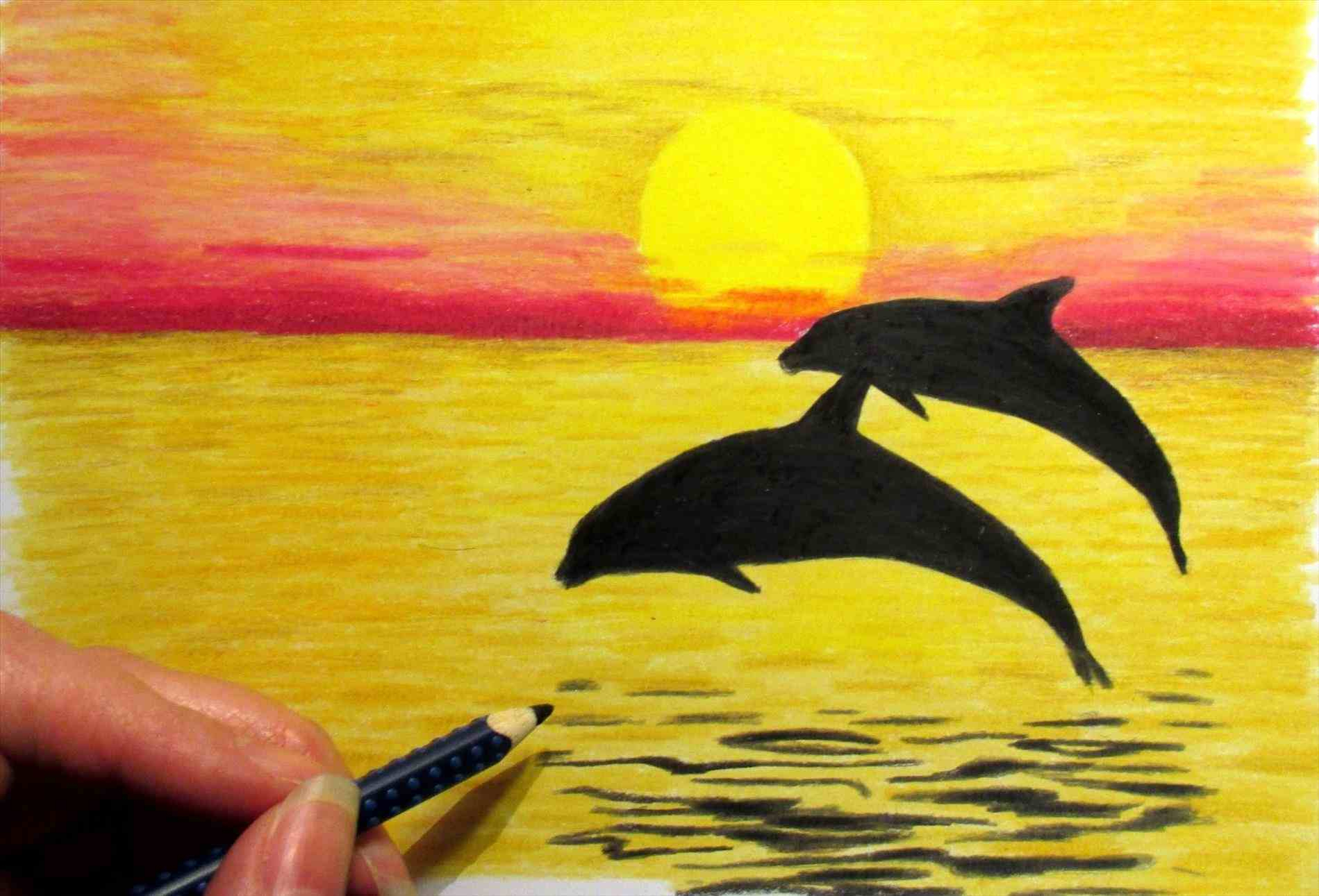 1899x1291 Drawing Easy Landscape With Colour Colored Pencil Sunset