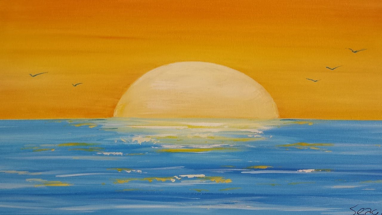 1280x720 How To Painting A Sunset Seascape In Acrylic (Narrated Time Lapse
