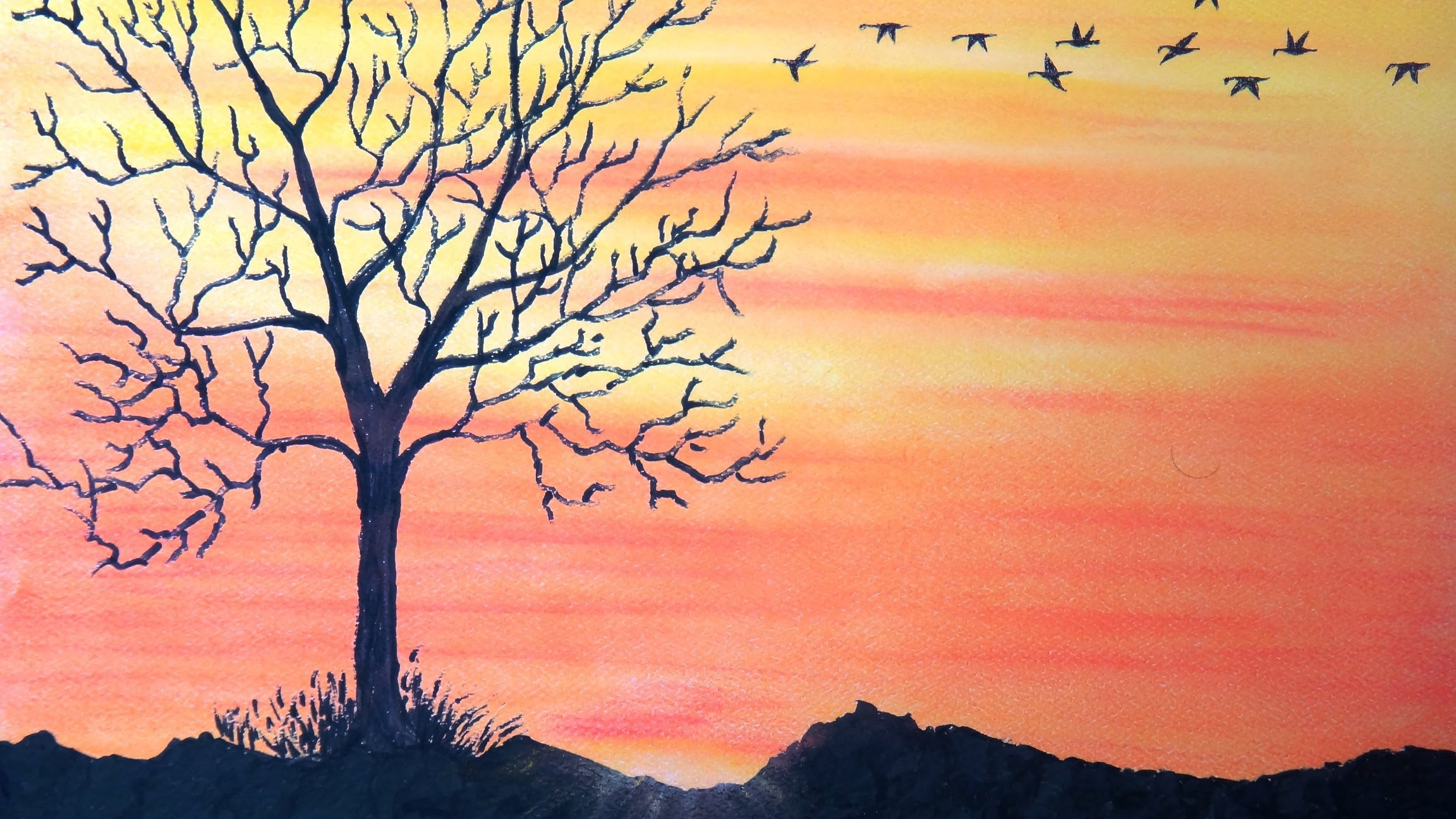 2304x1296 How To Draw Sunset With Pastel
