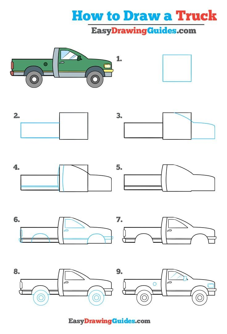 736x1080 How To Draw A Truck Really Easy Drawing Tutorial Easy Drawing