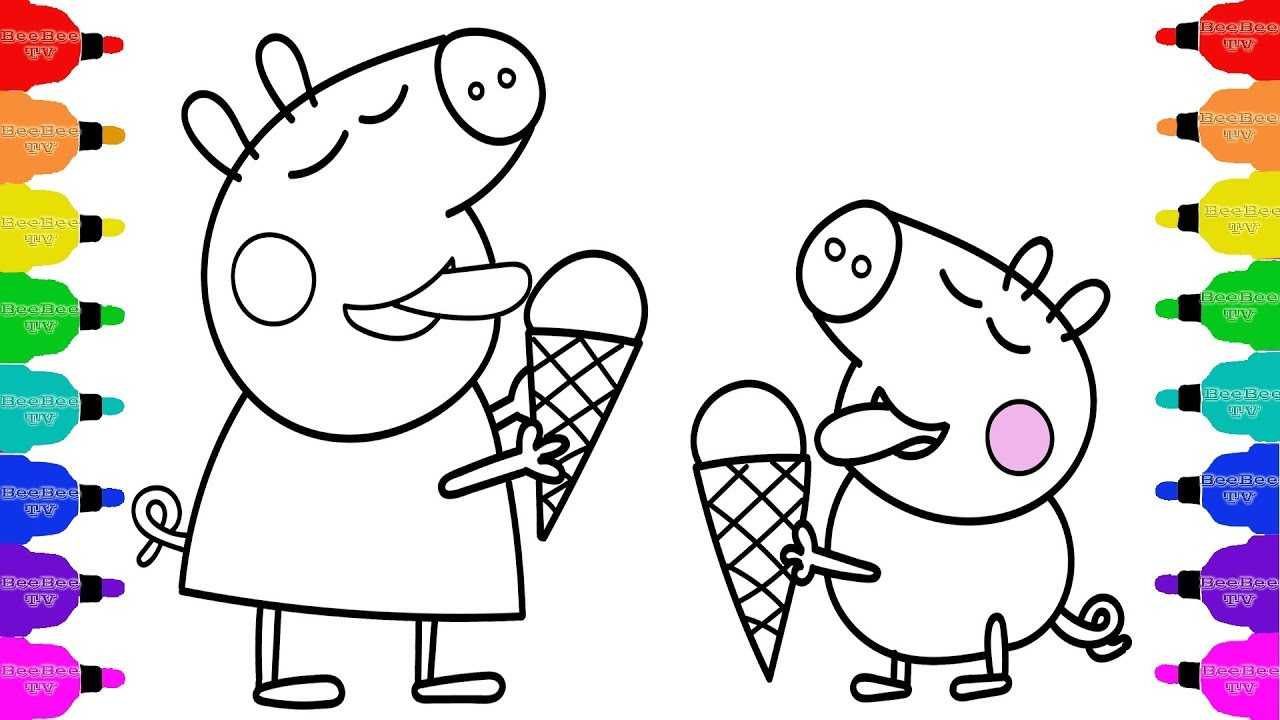 1280x720 How To Draw Peppa Pig Eat Ice Cream Coloring Pages Kid Drawing