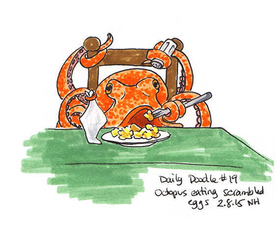 560x488 No.19 An Octopus Eating Scrambled Eggs! Original Artwork