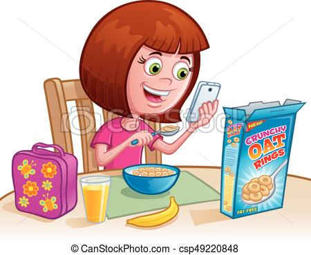 450x369 Girl Eating Cereal. Cartoon Of A Girl Eating Breakfast Eps