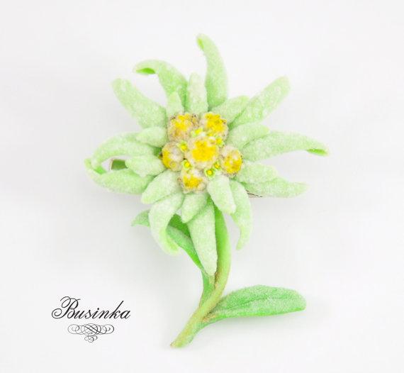 570x526 Edelweiss Flower Brooch Amp Hair Clip Mountain Jewelery Flower