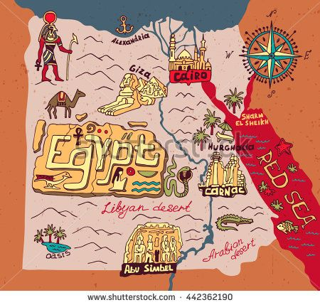450x429 Illustrated Map Of Egypt