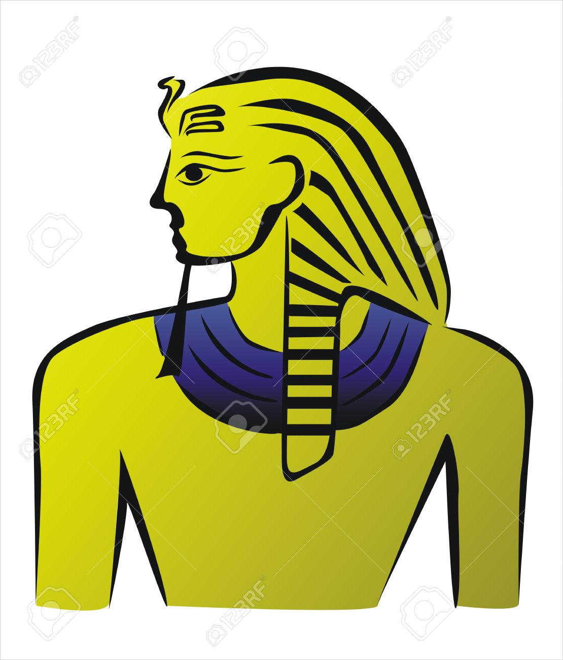 1110x1300 Drawing Of A Golden Egyptian Pharaoh Royalty Free Cliparts