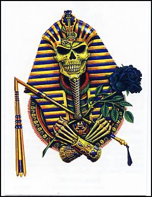 299x387 Egyptian Pharaoh Skull Temporary Tattoo. Halloween Temporary