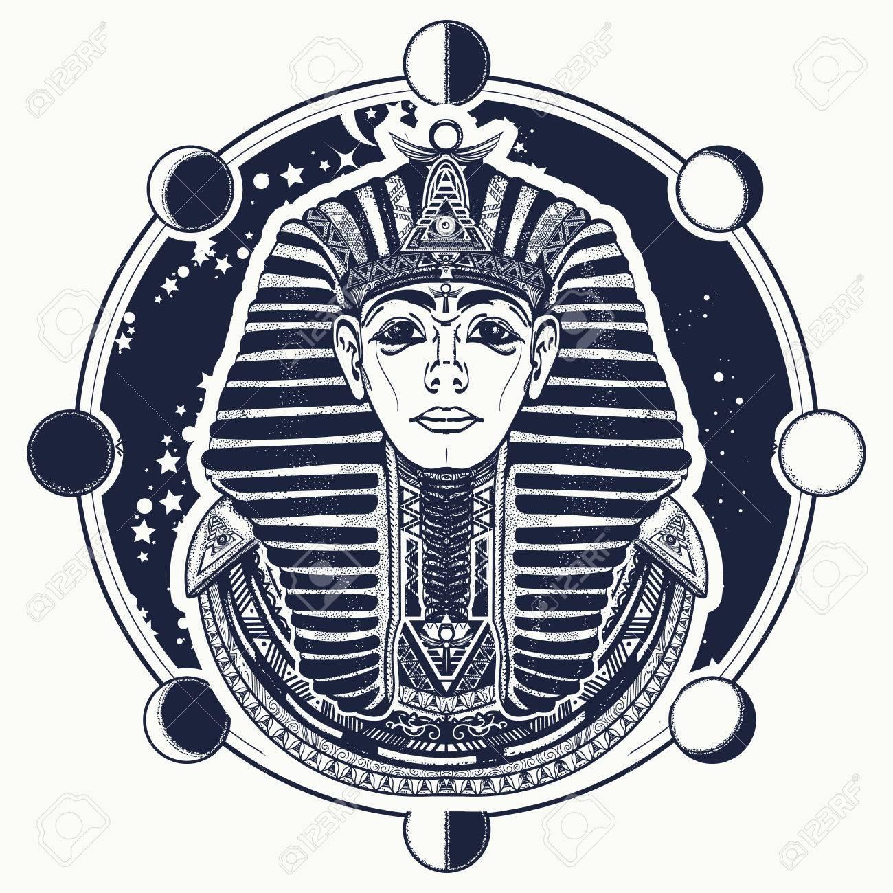1300x1300 Pharaoh Vector Tattoo Art, Egypt Pharaoh Graphic, T Shirt Design