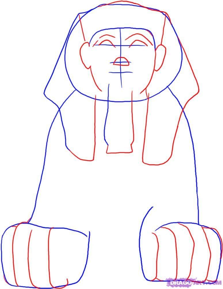 775x1004 Step 2. How To Draw An Egyptian Sphinx Random Egyptian
