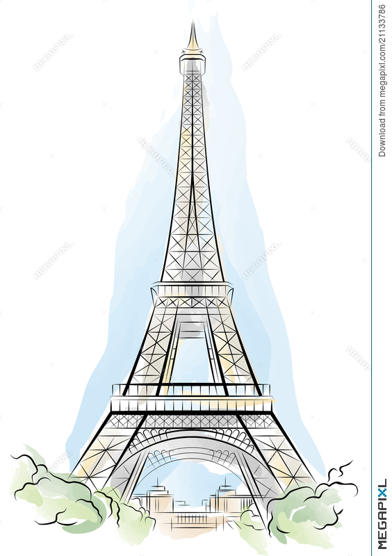 564x800 Drawing Color Eiffel Tower In Paris, France Illustration 21133786