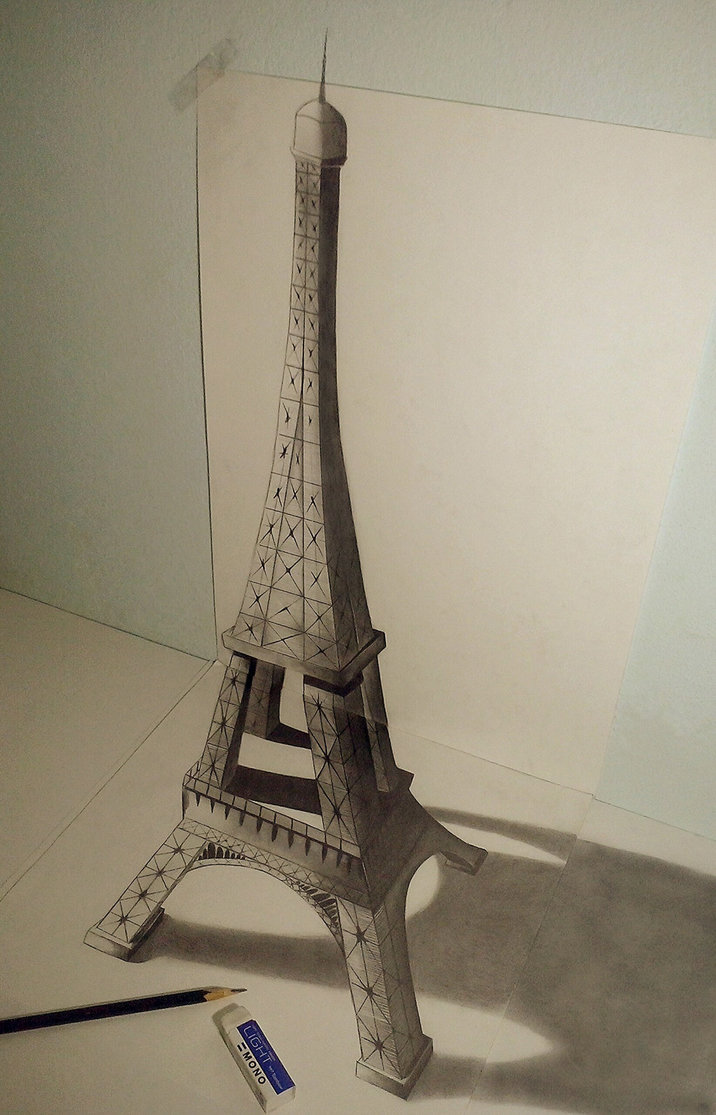 716x1115 3d Attempt Eiffel Tower By Extremegun