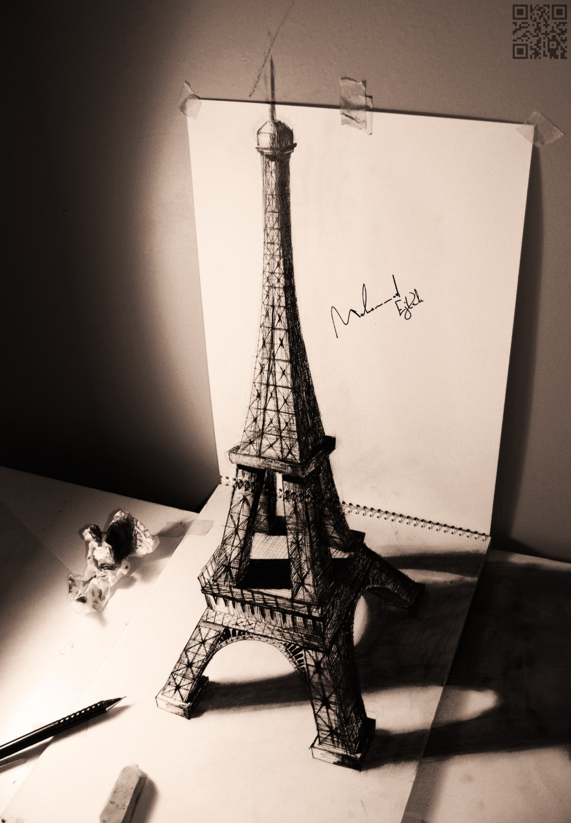 1110x1600 3d Drawing Of Eiffel Tower Most Beautiful Pages Pin Me